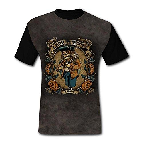 Crap Black T-shirt (Yangjio Men's Funny Lady Death Crap Printed Short Sleeve L T Shirts)