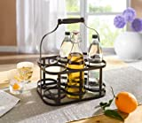 6-Bottle Metal Rack Basket Caddy Holder with Wood Handle Product SKU: HD222048 Review