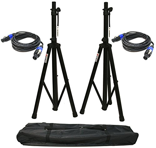 ASC (2) Pro Audio Mobile DJ PA Speaker Stands 6 Foot Adjustable Height Tripod with (2) Speakon 15Ft Cables & Nylon Travel -