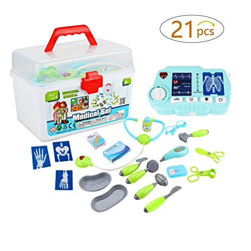 Kids Doctor Kit, Glonova 21 Pcs Pretend Play Doctor Kit with X-Ray Machine, Doctor Play Set in Sturdy Gift Case