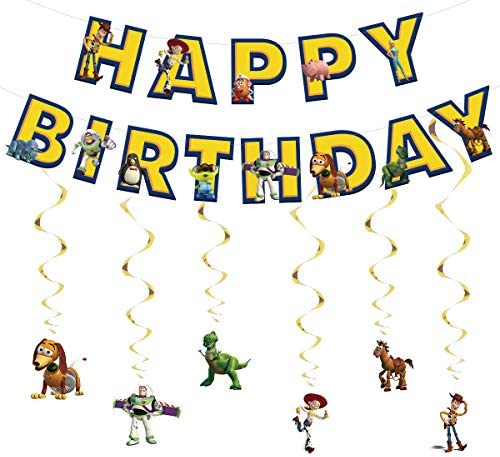 Taric Toy Story Birthday Banner, Cartoon Happy Birthday Banner with Hanging Swirls Decorations for Boys Girls Birthday Party Decorations