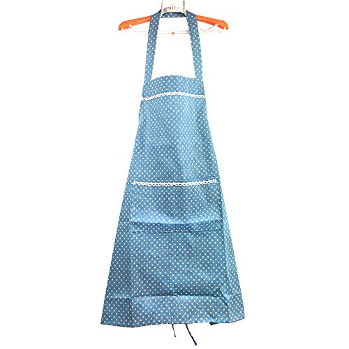 JOJO STYLE Apron with two pockets - Kitchen and Cooking Apron - Adjustable Neck Strap with long ties - Adapt to all ages people - Blue