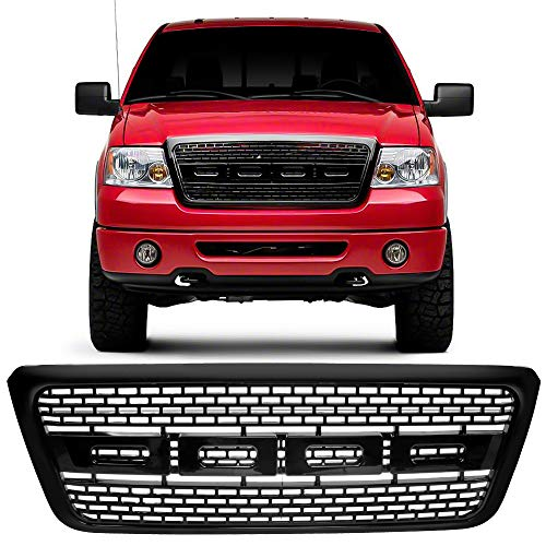 Grille Fits 2004-2008 Ford F150 | Raptor Style Black Front Bumper Grill Hood Mesh by IKON MOTORSPORTS | 2005 2006 2007