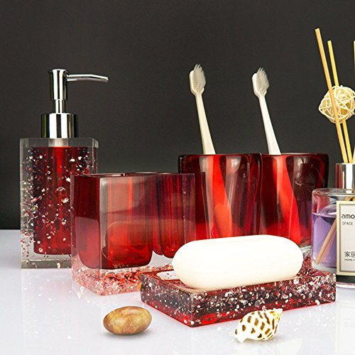 LUANT 5-Piece Resin Bathroom Accessory Set with Soap Dish, Dispenser, Toothbrush Holder and Tumbler, Red