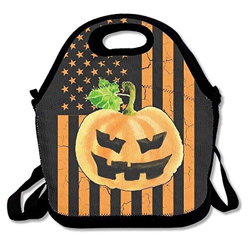 Pumpkin And US Flag Funny Halloween Lunch Bag Tote Handbag Lunchbox For School Work -