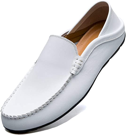 TALLA 44 EU. Unitysow Mocasines Hombres Zapatos de Vestir Casuales Holgazanes Slip On Verano Plano Cuero Zapatos de Conducción Zapatillas