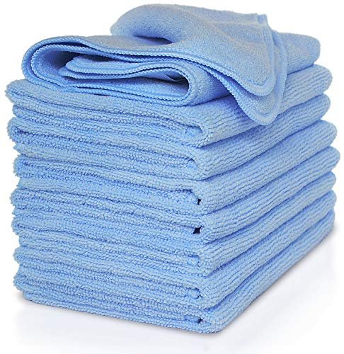 VibraWipe Microfiber Cleaning Cloth, Pack of 8 Pieces (All-Blue), Highly Absorbent, Lint-Free, Streak-Free, for Kitchen, Car, Windows