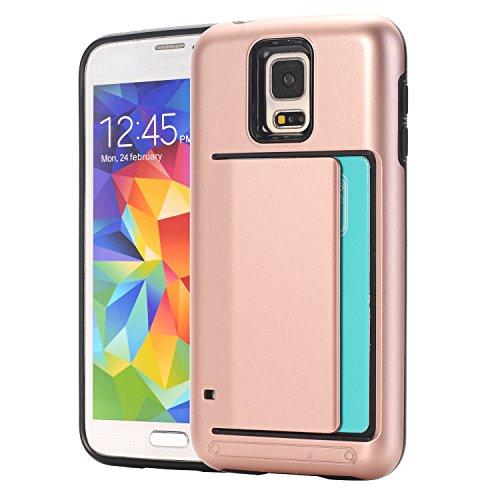 Galaxy S5 porta tarjetas de crédito Funda,dura híbrida ranuras para tarjetas para Samsung Galaxy S5 BabyRosa RoseOro