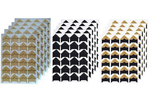 360 Count Self-Adhesive Acid Free Photo Corners for Scrapbooks Memory Books (Gold-Black-Kraft)