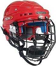 Ice Hockey Player Helmet V3.0 TEK Player Helmet W/CAGE RED (Senior Medium, Red)
