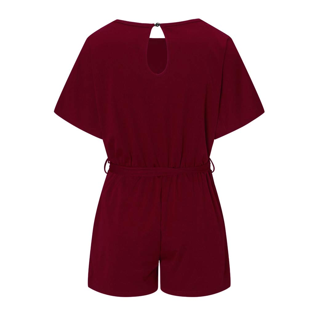 Topgee Jumpsuit for Women 3//4 Sleeve Shorts Overalls Strappy Belt Playsuit
