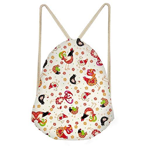 INSTANTARTS Chicken Print Men Drawstring Backpack Rucksack Shoulder Handbag Gym Bag Sport Travel Tote ()