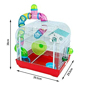 DZL Jaula para Hamster Medidas:(29.5X39.5X38CM) (Rojo) P.D: La Puerta de Delante Viene con una Pegatina marrón por…