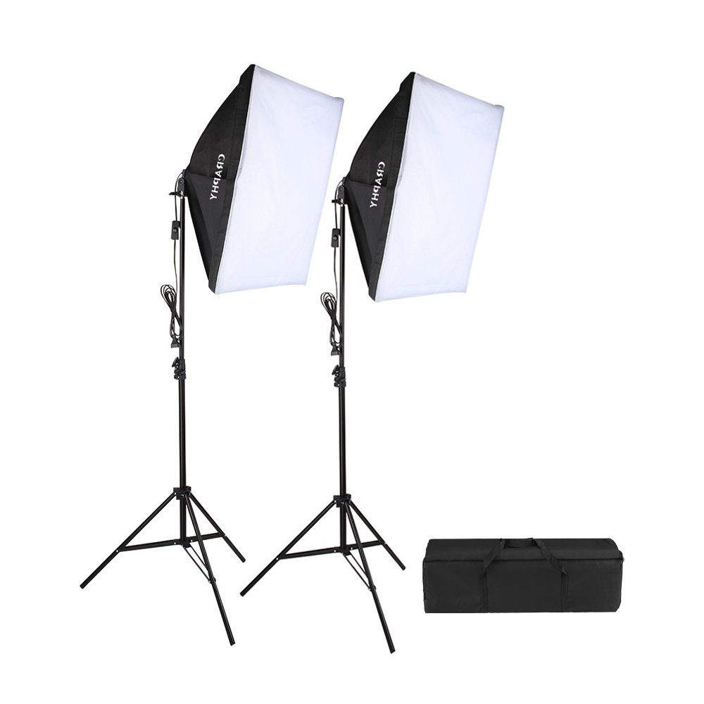 CRAPHY 700W 5500K Photography Studio Soft Box Lighting Kit Continuous Light Equipment for Portrait Video Shooting (20x28'' Softbox + 80'' Tall Light Stand + Carrying Bag)