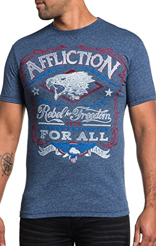 Affliction Men's Freedom Rebel Tee Shirt Navy 3X-Large