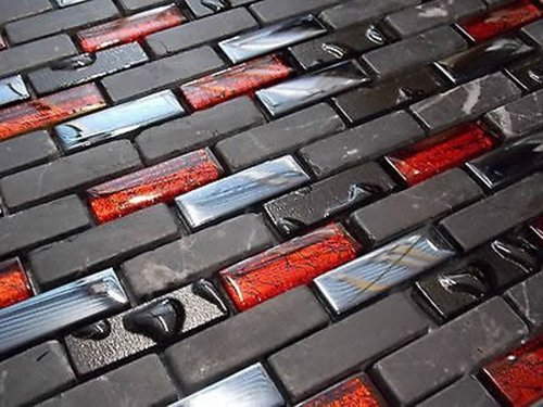 Fliesentopshop Glas Naturstein Effekt Mosaik Fliesen Schwarz Rot