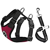 SlowTon Dog Car Harness Plus Connector Strap, Multifunction Adjustable Vest Harness Double Breathable