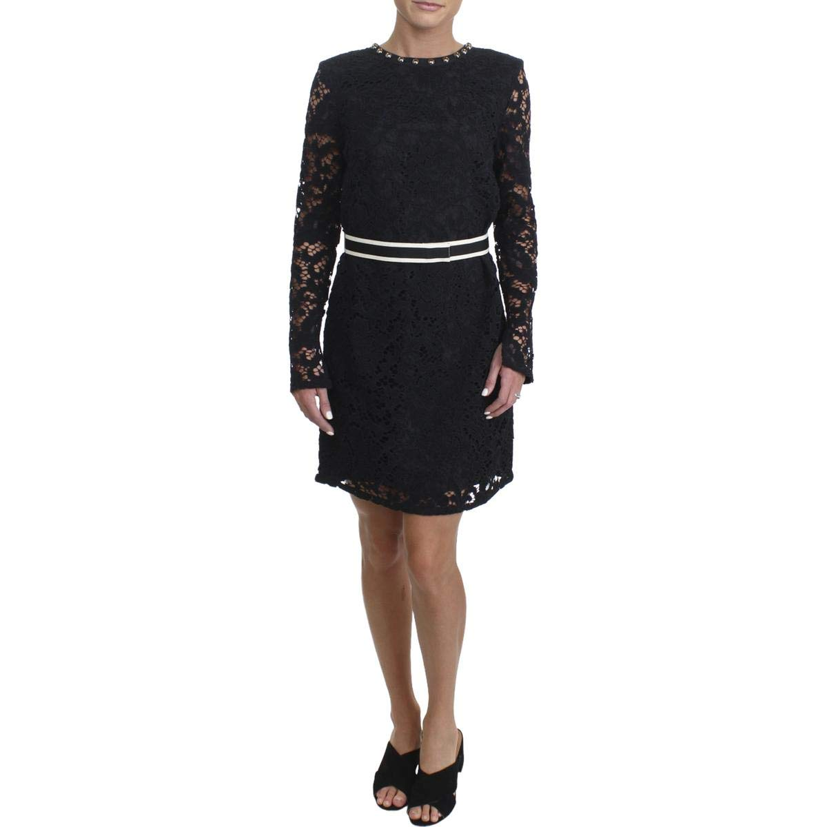 Juicy Couture Women's Stevie Lace Dress w/Embroidery Pitch Black 4
