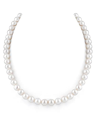 37392c3dce6c4 14K Gold 8-9mm White Freshwater Cultured Pearl Necklace - AAAA Quality, 18  Inch Princess Length