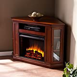 Electric Fireplace TV Stand Heater Corner Or Flat Free Standing Console Media Wooden Entertainment Center (Brown Mahogany)