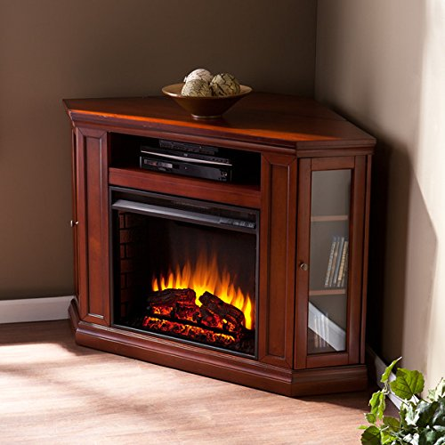 Brown Mahogany Electric Fireplace (Electric Fireplace TV Stand Heater Corner Or Flat Free Standing Console Media Wooden Entertainment Center (Brown Mahogany))
