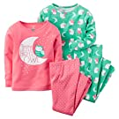 Carter's Baby Girls 4-Piece Glow-In-The-Dark Cotton PJs (6M)