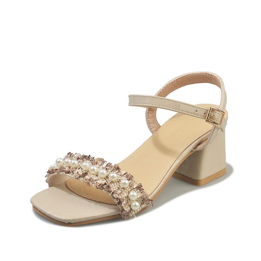blanco WUWUKAI Sandalias de tacón Grueso para mujer New Summer Wild Fashion Word Buckle zapatos