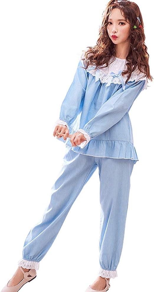 Camisones Pijamas Ropa de Dormir Pijamas de algodón Sueltos de Hembras Manga Larga de Encaje Azul