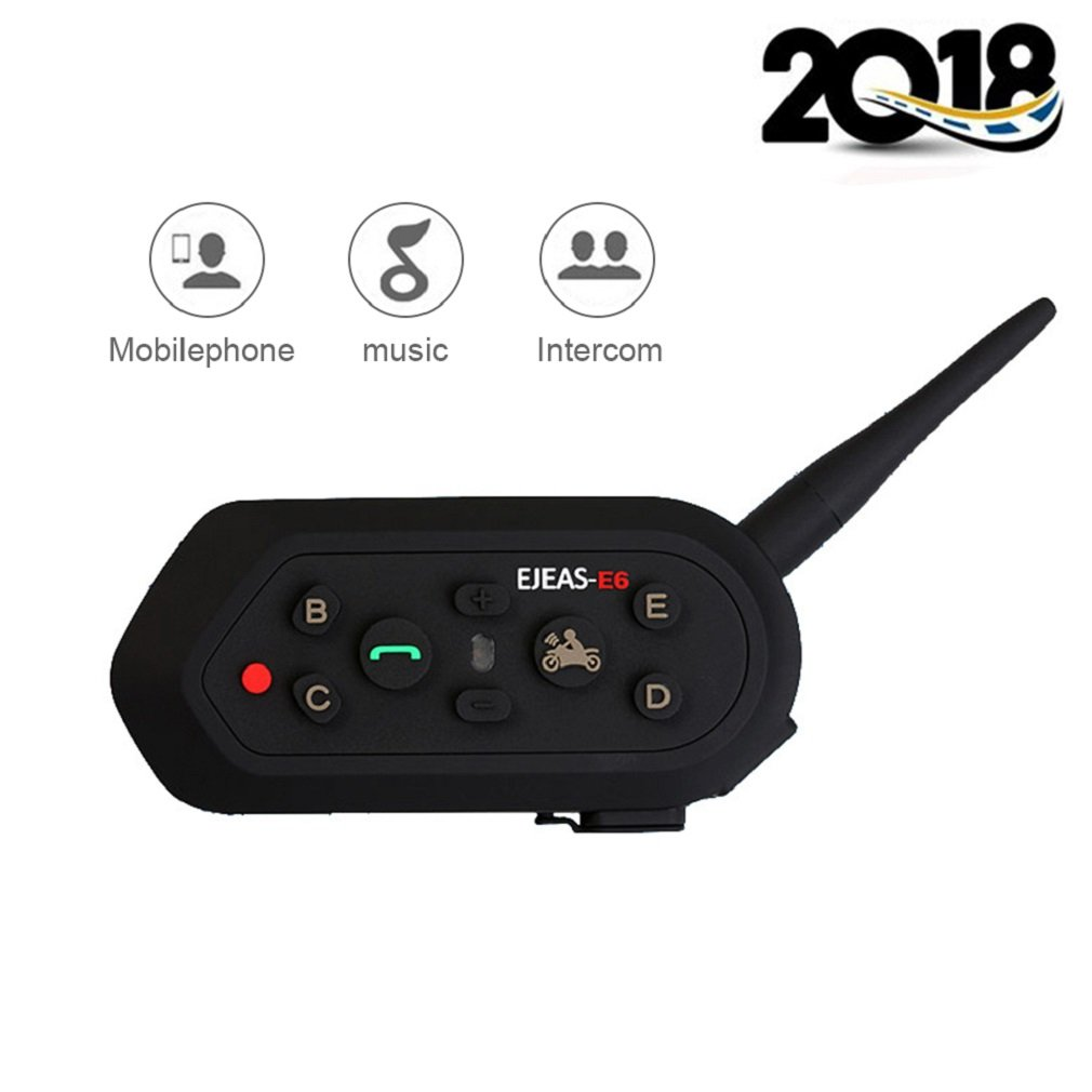 EJEAS-E6 BT Bluetooth Intercom 1300m 6 Riders Full Duplex Talk Waterproof Wireless Motorcycle Helmet Interphone Headset with Walkie-Talkie Sports Skiing Climbing (1 Pack)