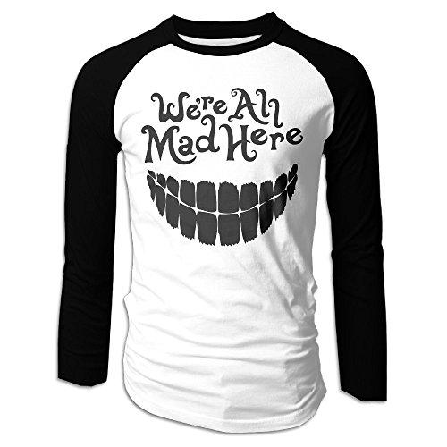 Creamfly Mens Evil Teeth We're All Mad Here Long Sleeve Raglan Baseball Tshirt M for $<!---->