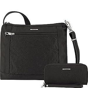 Travelon Anti-Theft Square Crossbody and Wallet Set – Medium RFID Lined Handbag for Travel & Everyday – (Black/Dark…