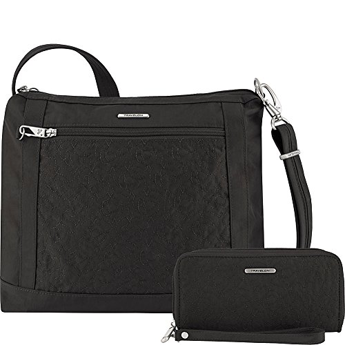 (Travelon Anti-Theft Square Crossbody and Wallet Set - Medium RFID Lined Handbag for Travel & Everyday - (Black/Dark Emerald Interior) )