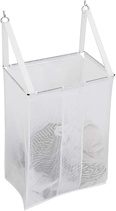 ALYER Wall Hanging Mesh Laundry Hamper,Over The Door Large Storage Bag with Big Metal Rim Opening,Hardware Included (White)