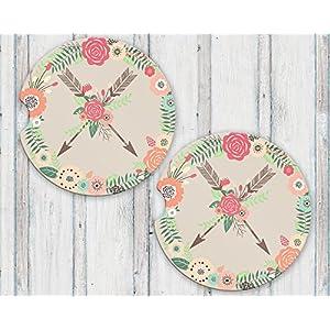Crossed Arrows Sandstone Car Coasters Boho Floral Wreath Flower Arrow Tribal Set of 2 2