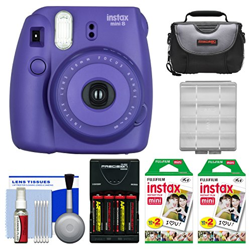 Fujifilm Instax Mini 8 Instant Film Camera (Grape) with 40 Instant Film + Case + Batteries & Charger + Kit (Fujifilm Instax Mini8 Grape compare prices)