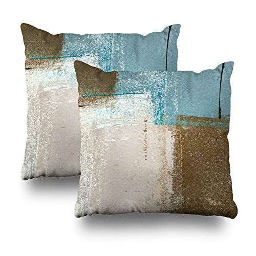 (Set of 2 Decorative Pillow Case Throw Pillows Covers for Couch/Bed 18 x 18 inch, Blue Brown Abstract Art Painting Home Sofa Cushion Cover Pillowcase Gift Bed Car Living)