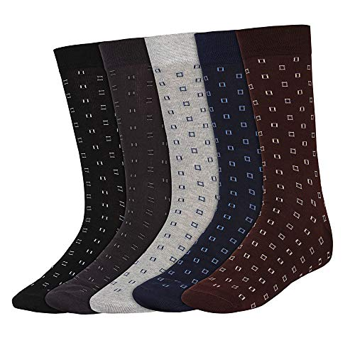 SIDEWOK Calf Length/Full Length/High Length Pure Cotton Designer Formal Socks For Men Combo of 5 Pair Free Size(SCS-FL-08)(Seamless)