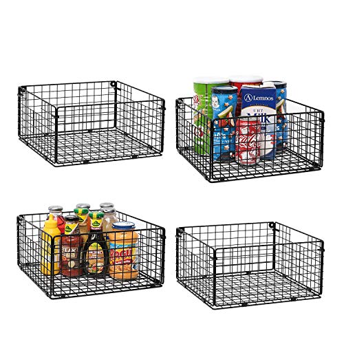 X-cosrack Foldable Cabinet Wall Mount Metal Wire Basket Organizer with Handles – 4 Pack, 12″ x 12″ X 6″Farmhouse Food Storage Mesh Bin for Kitchen Pantry Laundry Closet Garage Patent Design