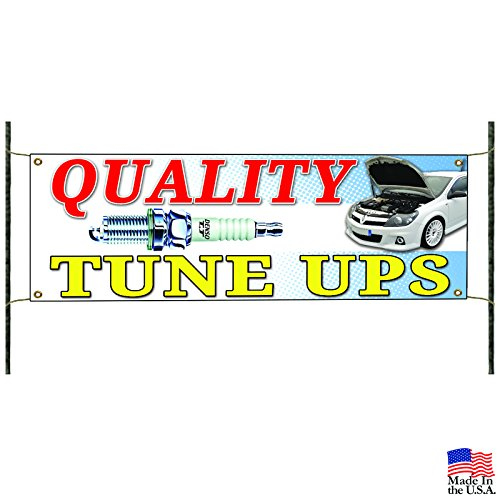 Quality Tune Ups Car Maintenance Spark Plugs Automotive Vinyl Banner Sign (Vinyl Ups)