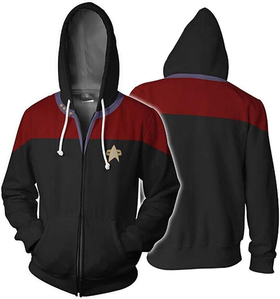 Unbran Star Trek Voyager Commander Captain Zipper Sweatshirt Costume Men Hoodie Jacket-AE122