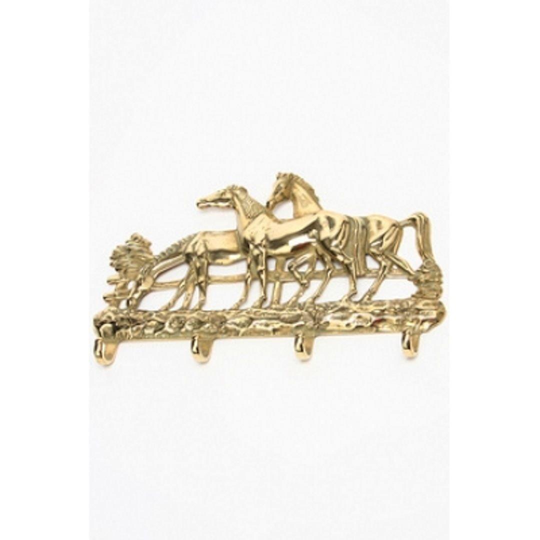 Perchero Llavero portapresine latón pulido, diseño de caballos