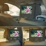 COOAU Car Headrest Mount Holder Backseat Strap Case for 10-10.5 inch Swivel & Flip Portable DVD Players
