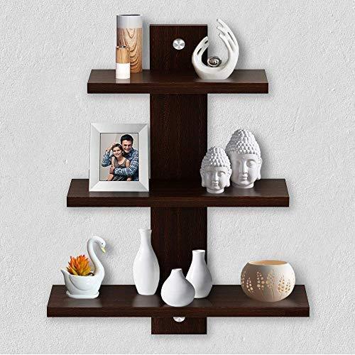 A10SHOP A10 Shop Delta S2 Home Decor Wall Shelf/Rack Set of 3  Matt Finish   Wenge