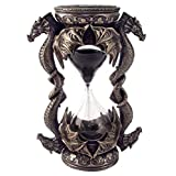 6 Inch Cold Cast Bronze Finish Black Sand Timer with 2 Dragons