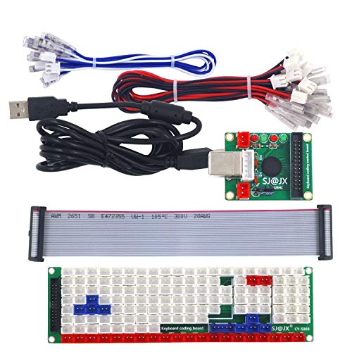 SJ@JXDevelopment Keyboard Encoder Board Game Controller DIY LED KeyboardDevelopment Board Media Music USB Encoder 104 Keys Arcade DIY Kit