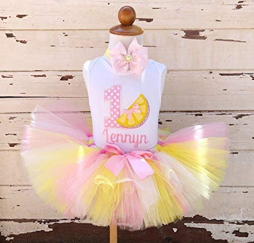 (Pink Lemonade 1st Birthday Tutu Outfit- Personalized Baby Girl)
