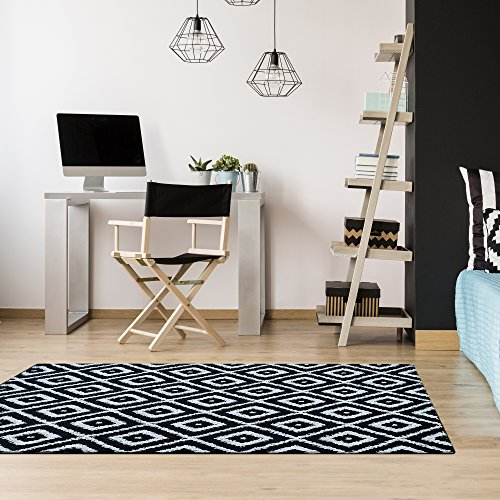 iCustomRug Shakra Geometric Non Skid, High Low Loop Pile, Stain Resistant, Washable Area Rug