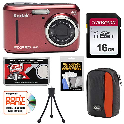 - KODAK PIXPRO Friendly Zoom FZ43 Digital Camera (Red) with 16GB Card + Case + Tripod + Kit