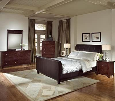 Roundhill Furniture Le Charmel 4-Piece Blended Leather Sleigh Bedroom Set, Includes Queen Bed, Dresser, Mirror and Night Stand
