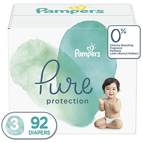 Diapers Size 3, 92 Count – Pampers Pure Disposable Baby Diapers, Hypoallergenic and Unscented Protection, Giant Pack
